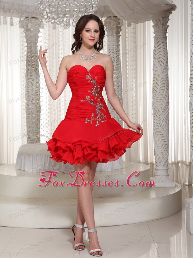 Red Short Beading Sweetheart Prom Holiday Dresses for 2013