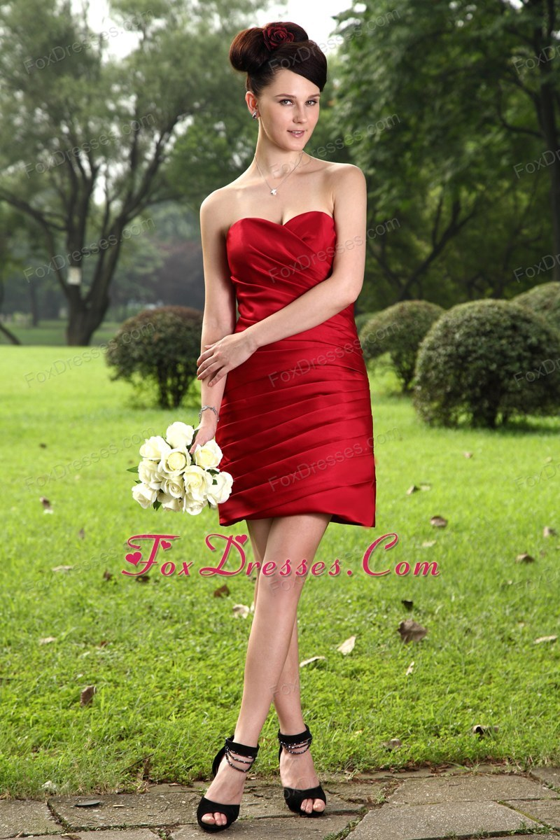 Red Column Mini-length Holiday Graduation Dresses Ruched