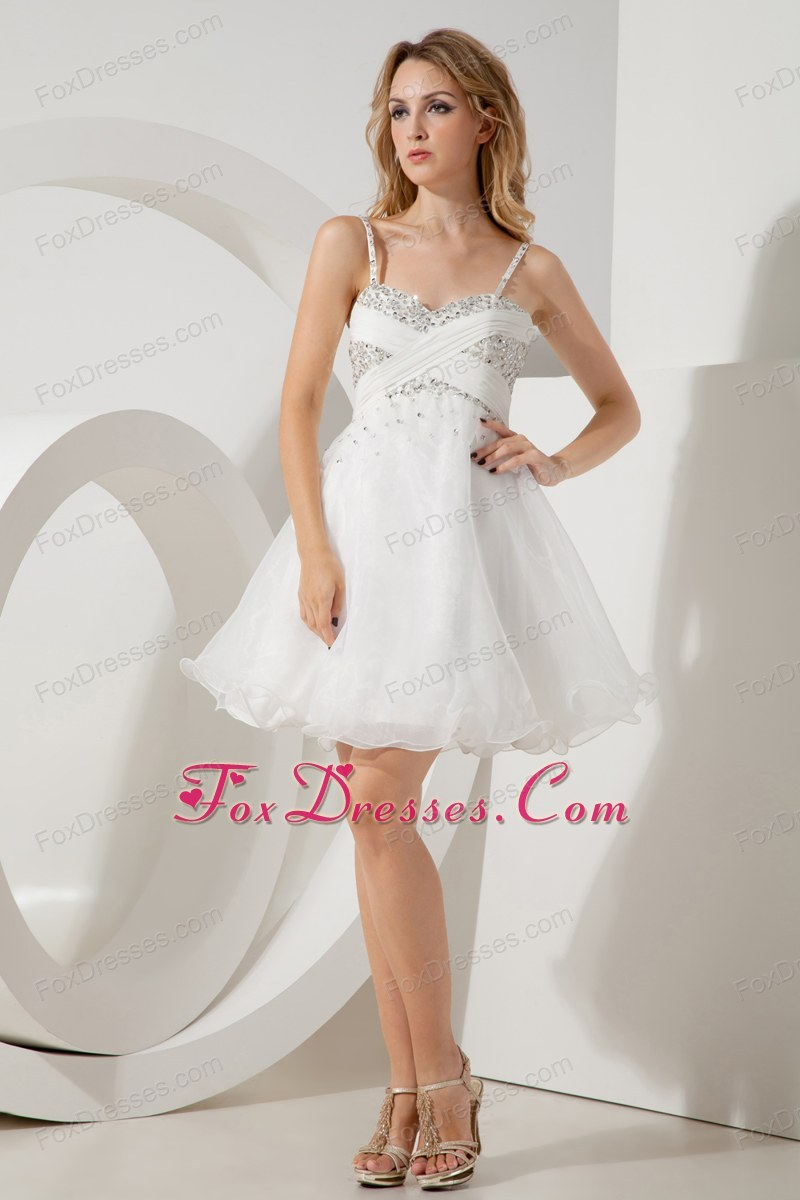 Spaghetti straps beaded white holiday homecoming dresses tulle elegant and perfect luxurious ruching holiday dress for birthday party ombrellifo Gallery