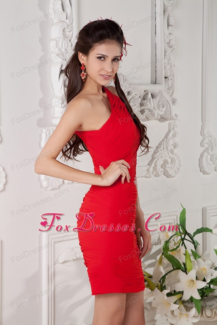 One shoulder red beading mini length holiday cocktail dresses