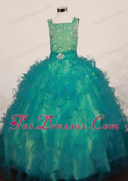 Outstanding Tank Stoned Bodice Girl Pageant Dress with Ruffles