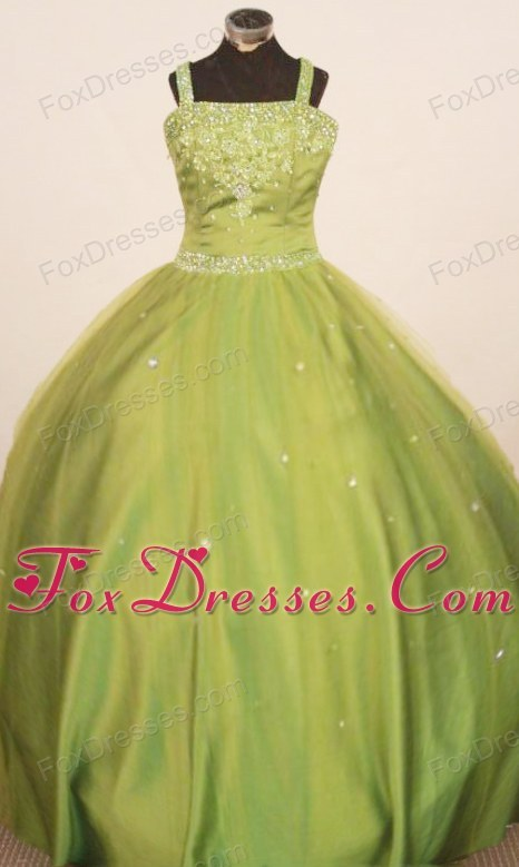 2013 Beading Little Girl Pageant Dresses Straps Olive Green Ball Gown