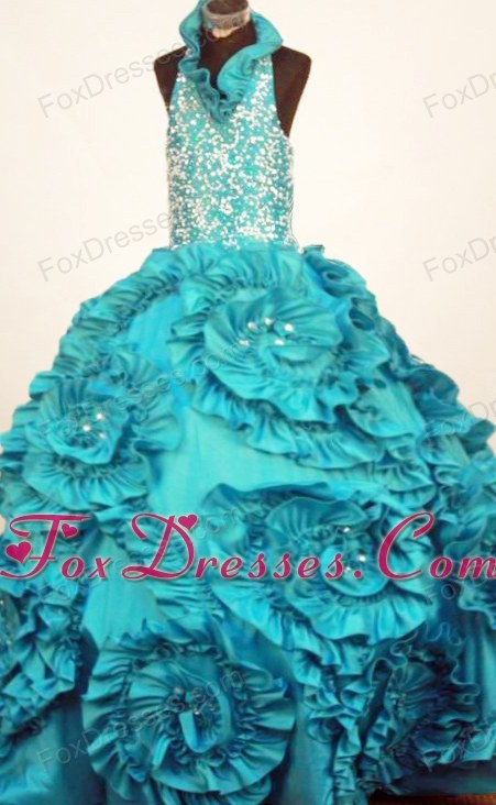 Little Girl Pageant Dresses Turquoise Halter Ruffles Taffeta In 2013