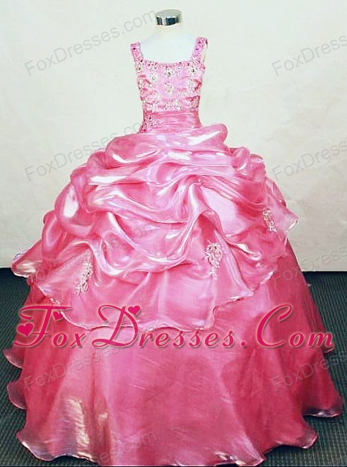 Appliques Straps Organza Beading Little Girl Pageant Dresses