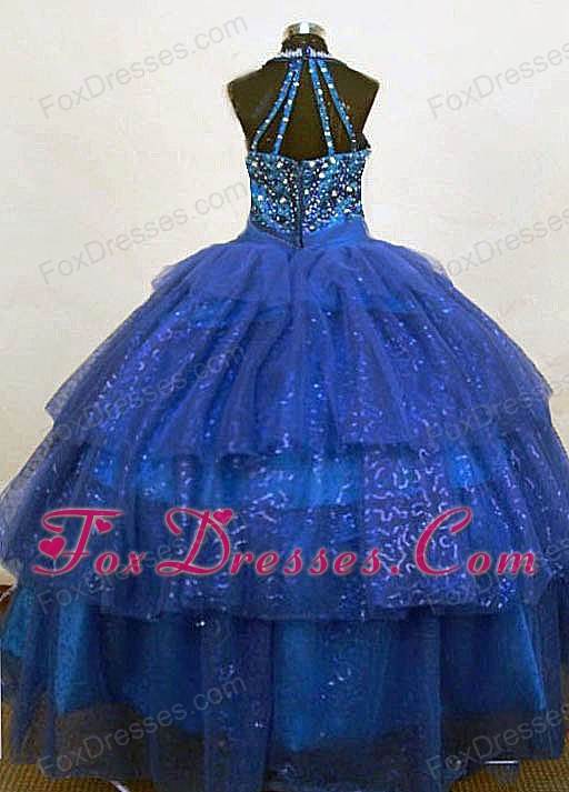 Blue Beading Halter Top Organza Little Girl Pageant Dresses