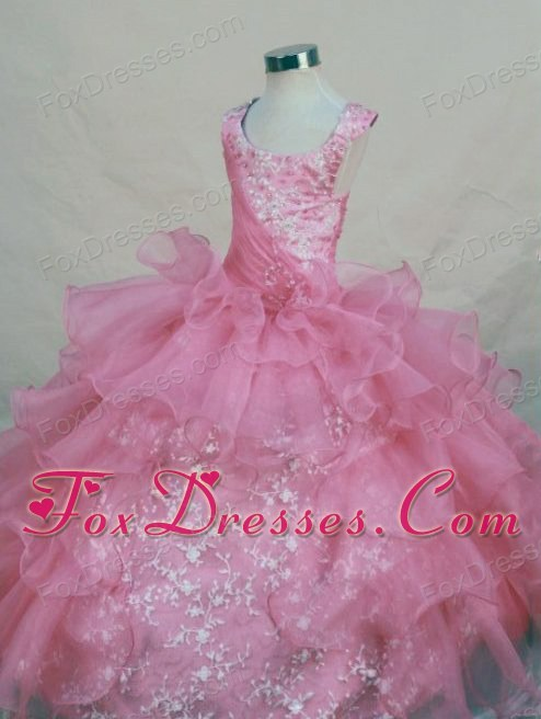 Appliques Scoop Pink 2013 Little Girl Pageant Dresses Ruffles