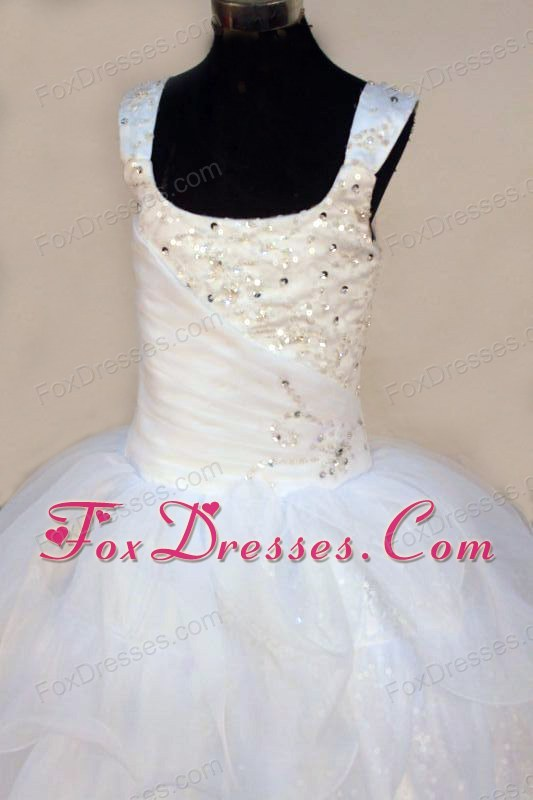 Exquisite Beading White Square Little Girl Pageant Dresses