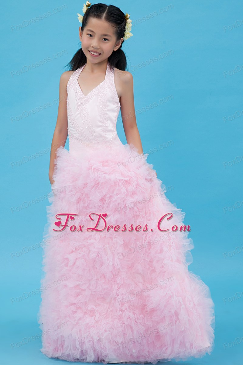 Baby Pink Halter Tulle Beading Flower Girl Dress