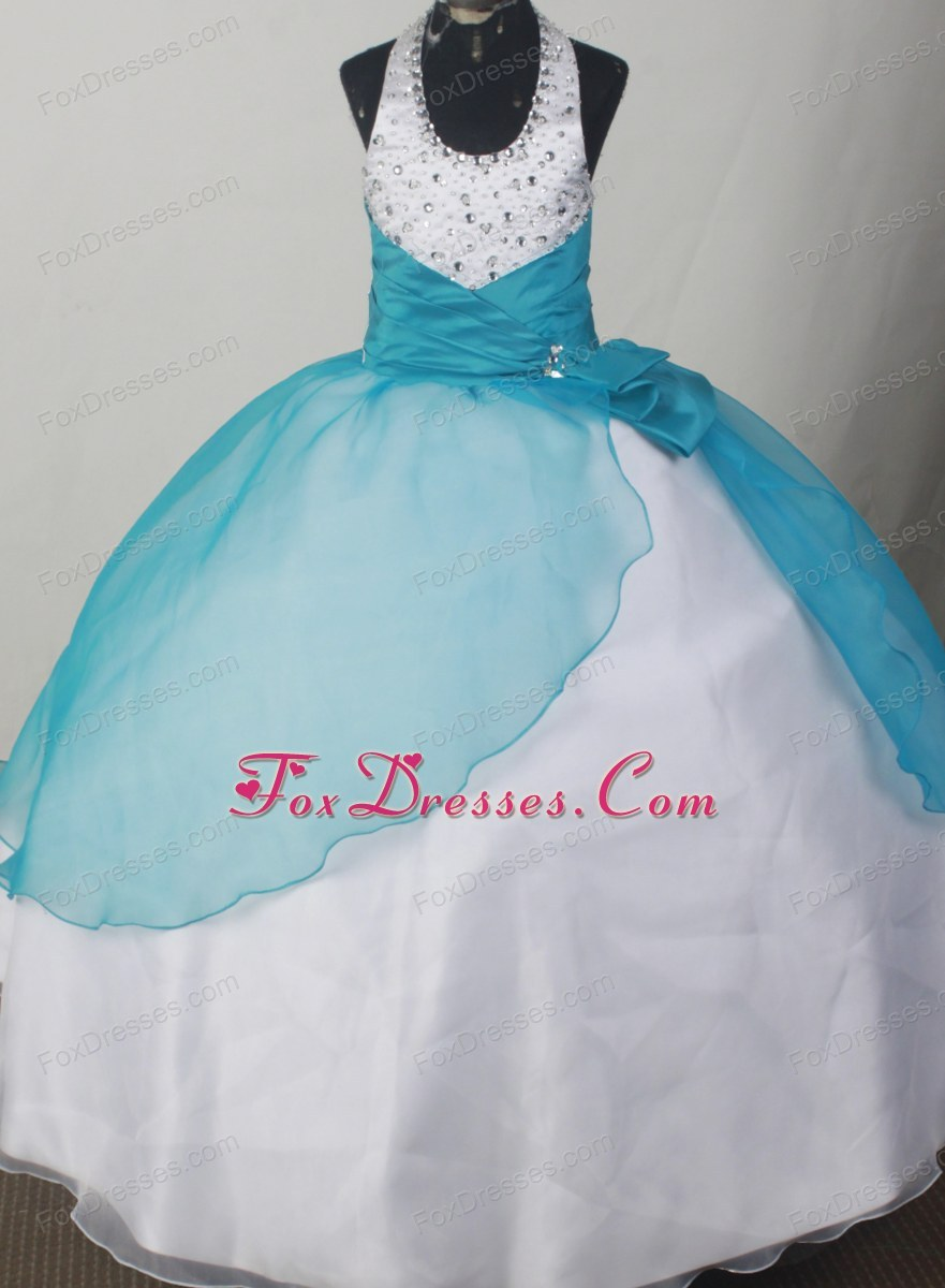 Lovely Halter Neckline Blue and White Girl Birthday Dress Bowknot