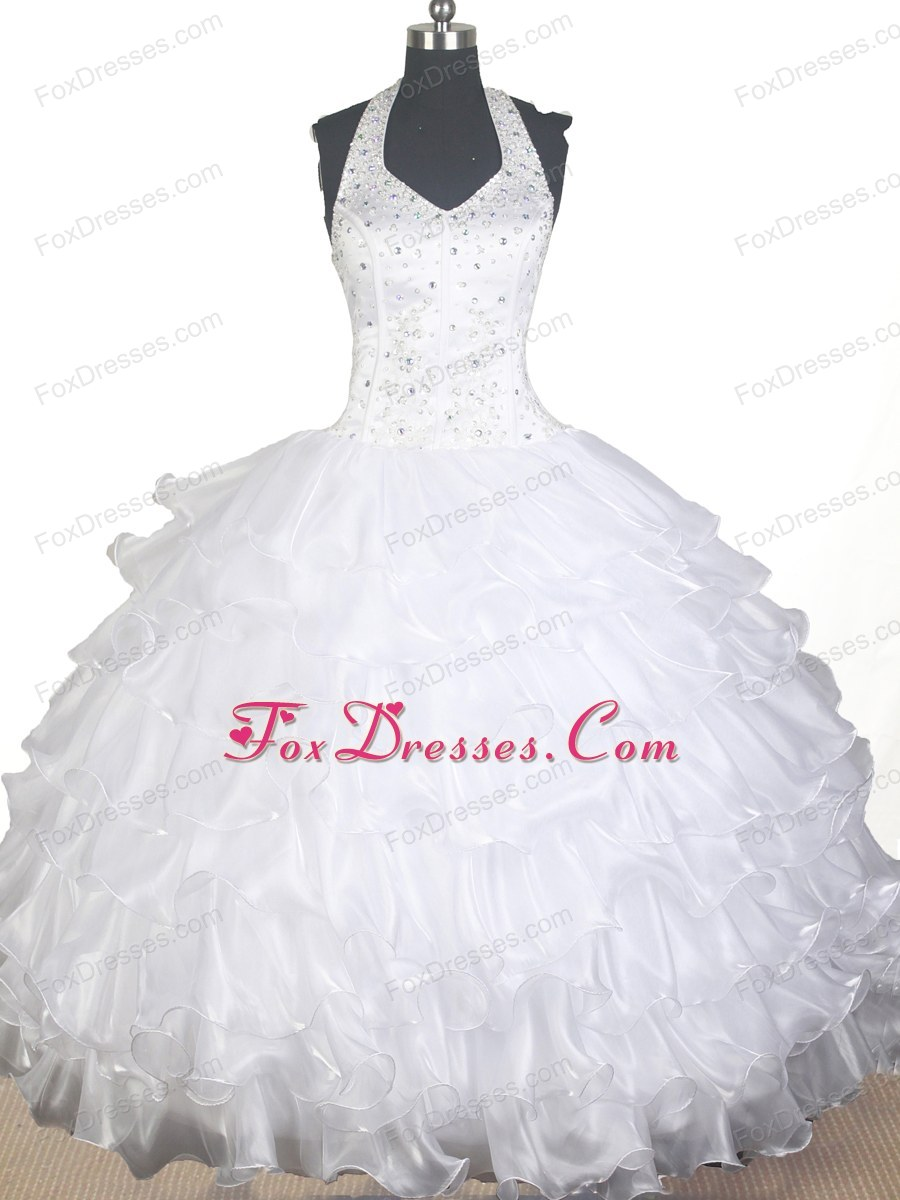 White Halter Beaded Glitz Pageant Dress with Ruffled Layers