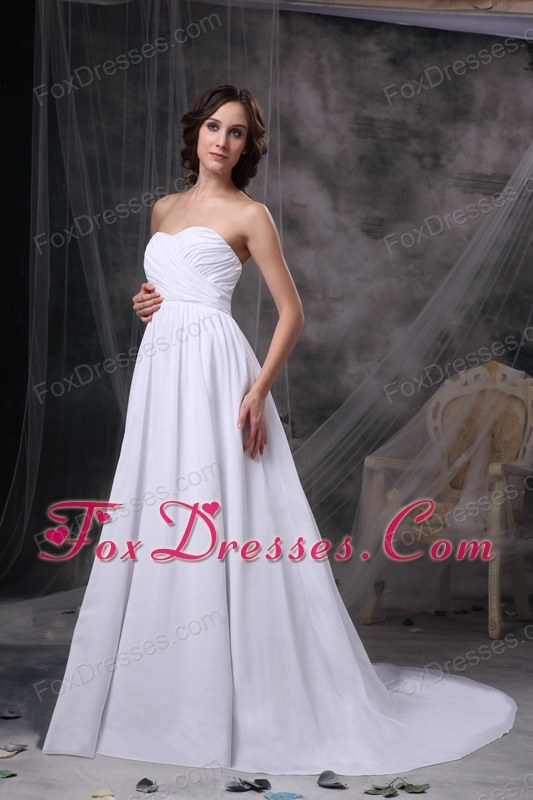White Empire Wedding Dress Sweetheart Chiffon Ruch