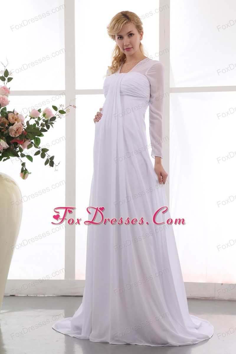 Formal empire square maternity dress court train chiffon for Cheap wedding dresses under 200