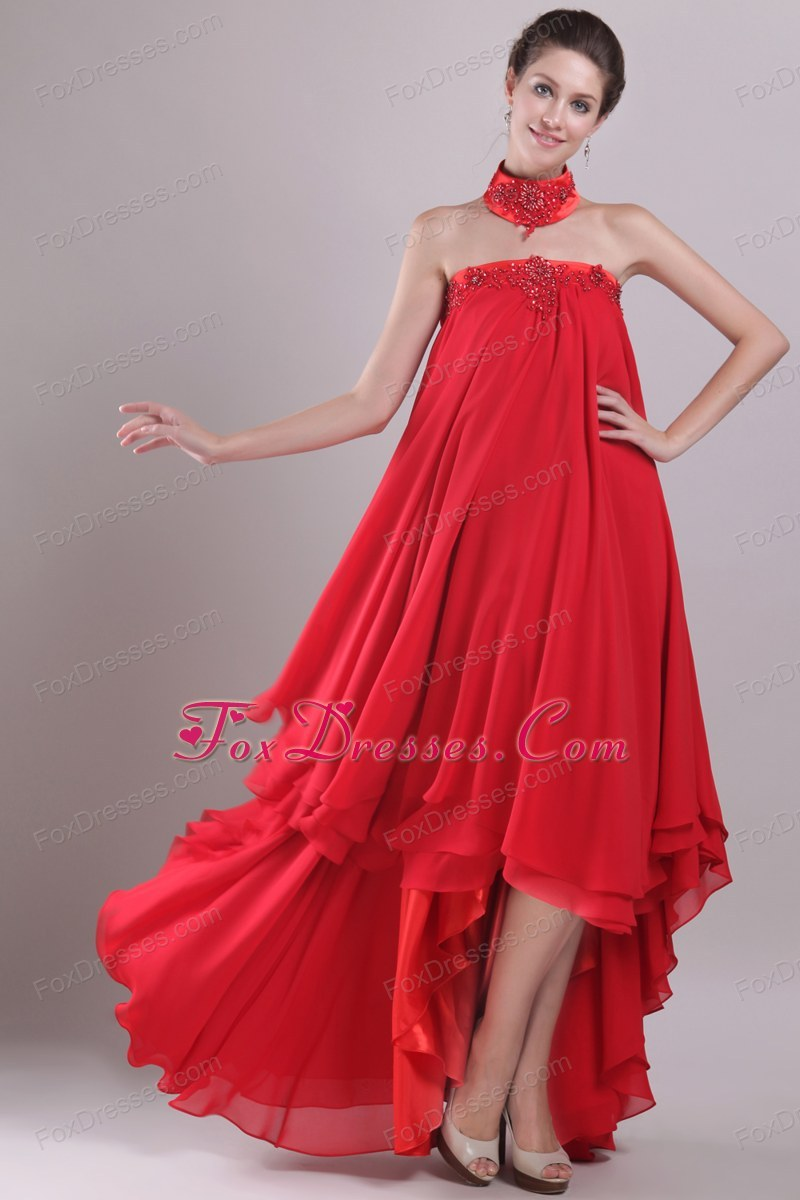 MaxiCelebrity Dresses Red A-Line High-low Chiffon 2013