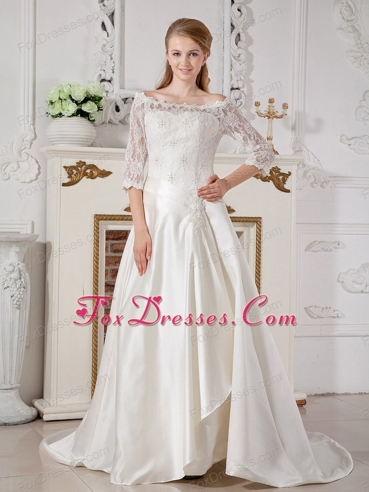 New A-line Court Train Taffeta Lace Wedding Dress