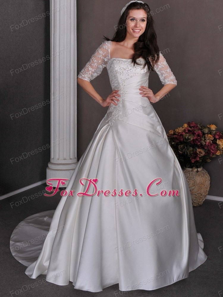 Square Ruched Chapel Train Wedding Dress A-line