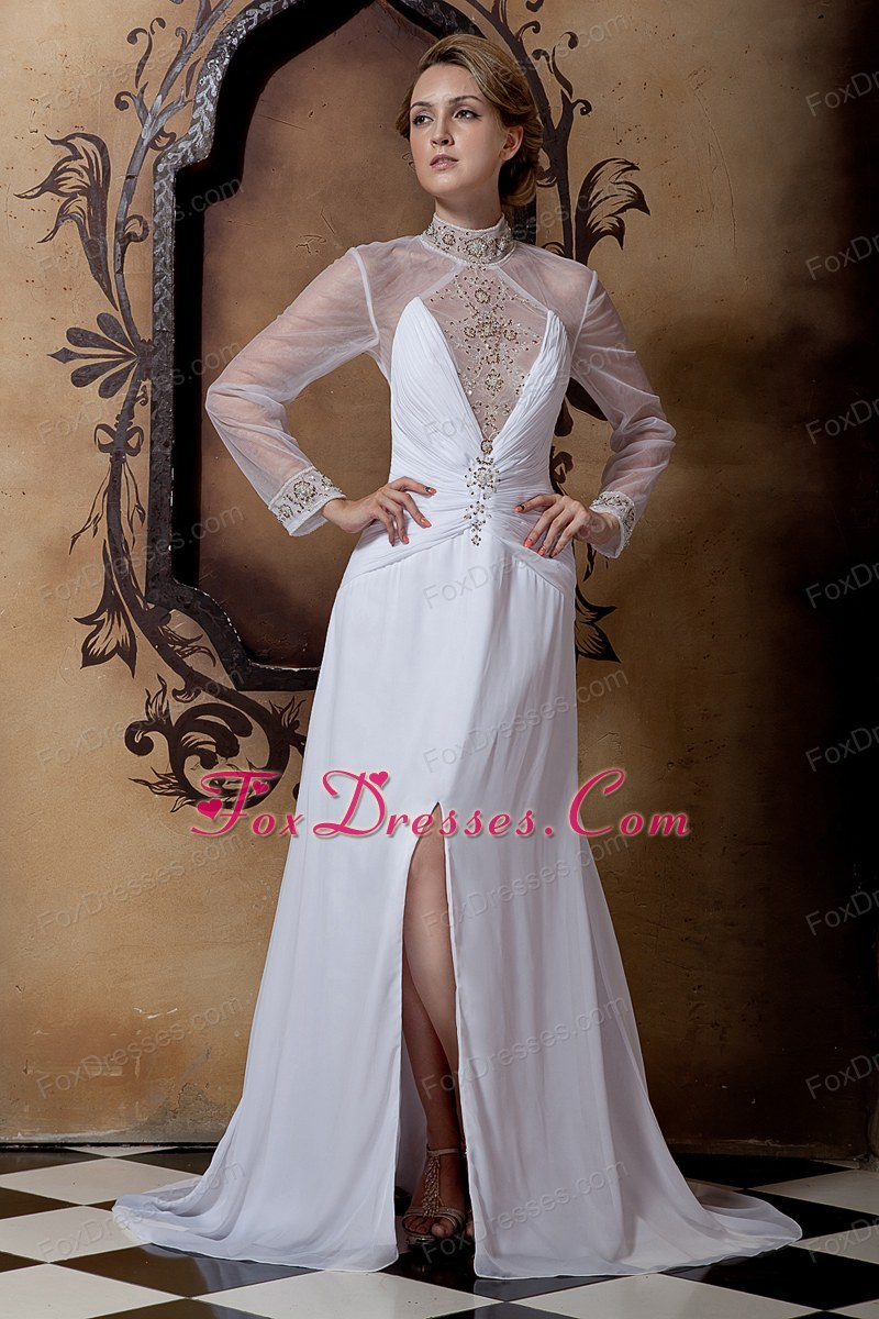 Empire Court Train Chiffon Beading Wedding Dress