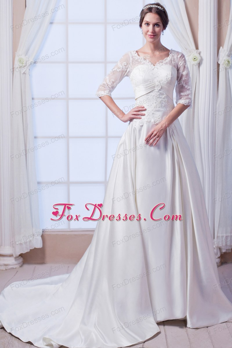Princess V-neck Wedding Dress Court Train Satin