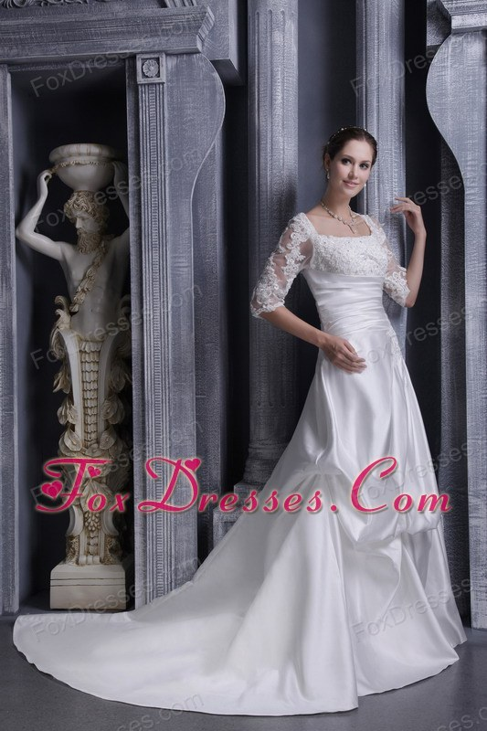 A-line Square Chaple Taffeta Laces Wedding Dress