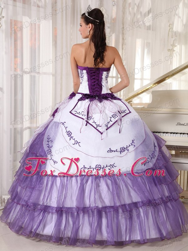 Sweetheart White and Purple Embroidery Quinceanera Dress White And Purple Quinceanera Dresses
