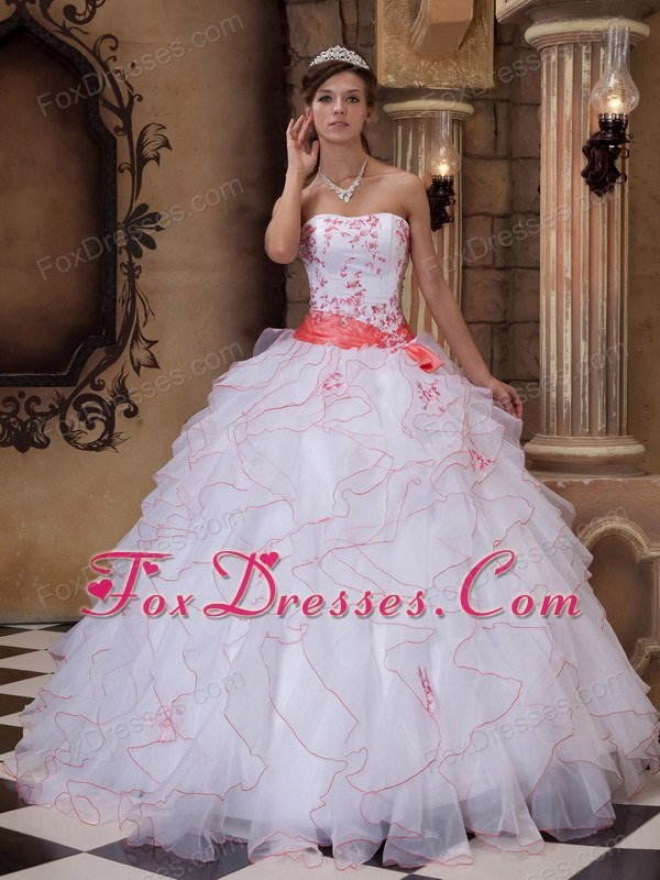 Pink and white quinceanera dresses