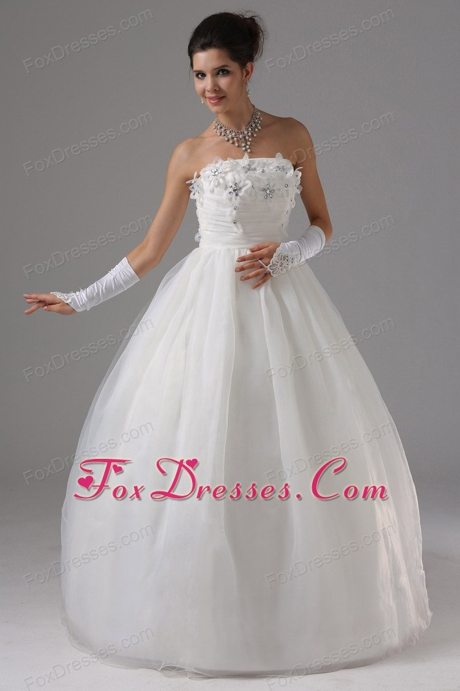 Ball Gown Wedding Dress Appliques Bust Strapless Tulle