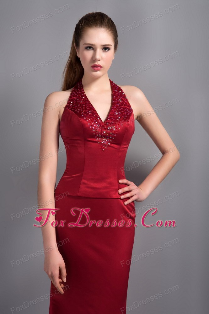 Mermaid Halter Ankle-length Wine Red Beading Pageant Evening Dress
