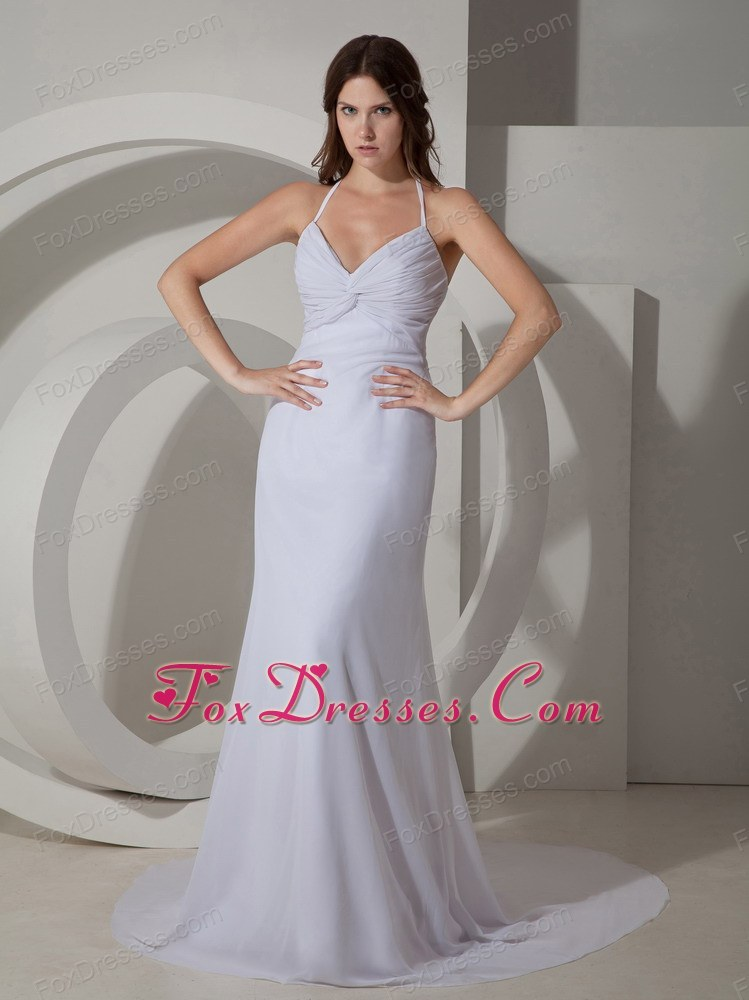 Popular Column Sheath Halter Court Train Pageant Evening Dress