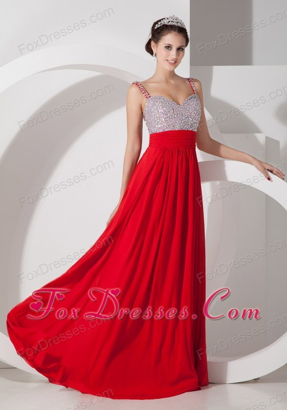 Red Straps Prom Pageant Dress Long Beading and Ruche