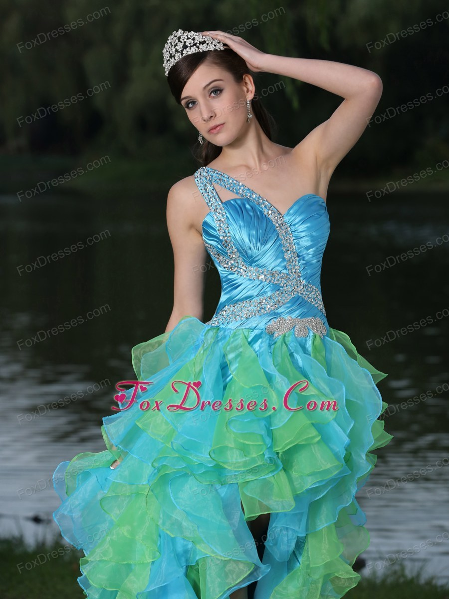 low One Shoulder Multi-color Prom Gown With Ruffles Beading
