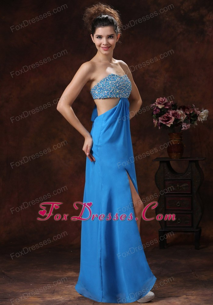 Sexy High Slit Teal Beading Stylish Prom Pageant Dress
