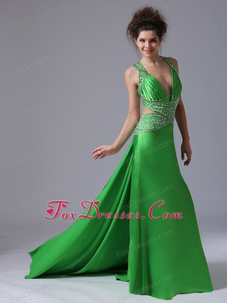 Spring Green V-neck Watteau Train Pageant Dress With Cross Criss