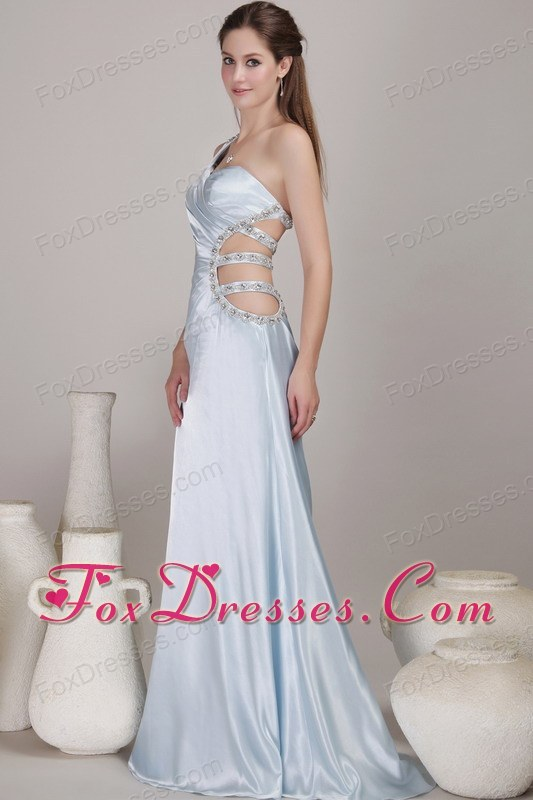 Light Blue One Shoulder Long Beading Pageant Evening Gown
