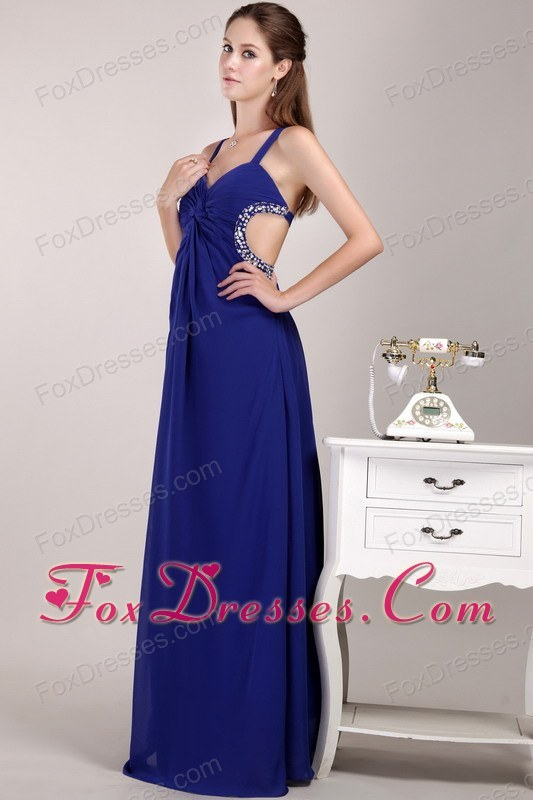 Blue Straps Empire Long Beading Pageant Celebrity Dress