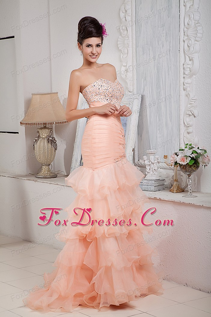 Mermaid Sweetheart Ruffled Layers Organza Prom Pageant Dress