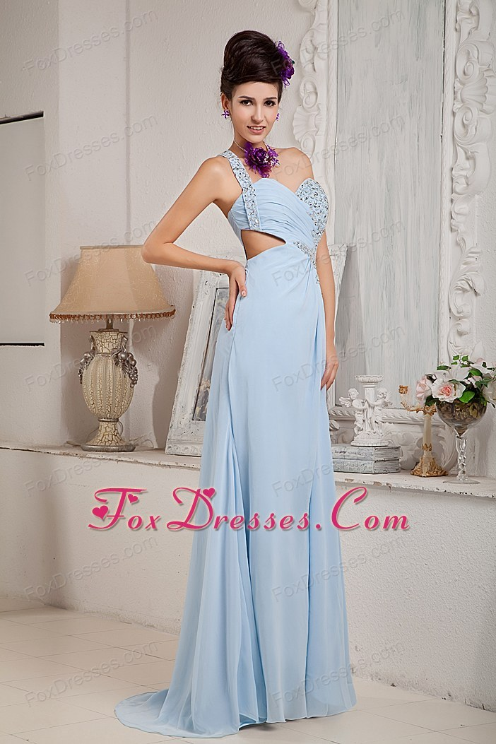 Light Blue Low price Empire One Shoulder Beading Prom Pageant Gown