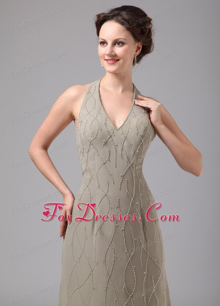 Halter Appliques Ankle Length Chiffon Mother Of The Bride