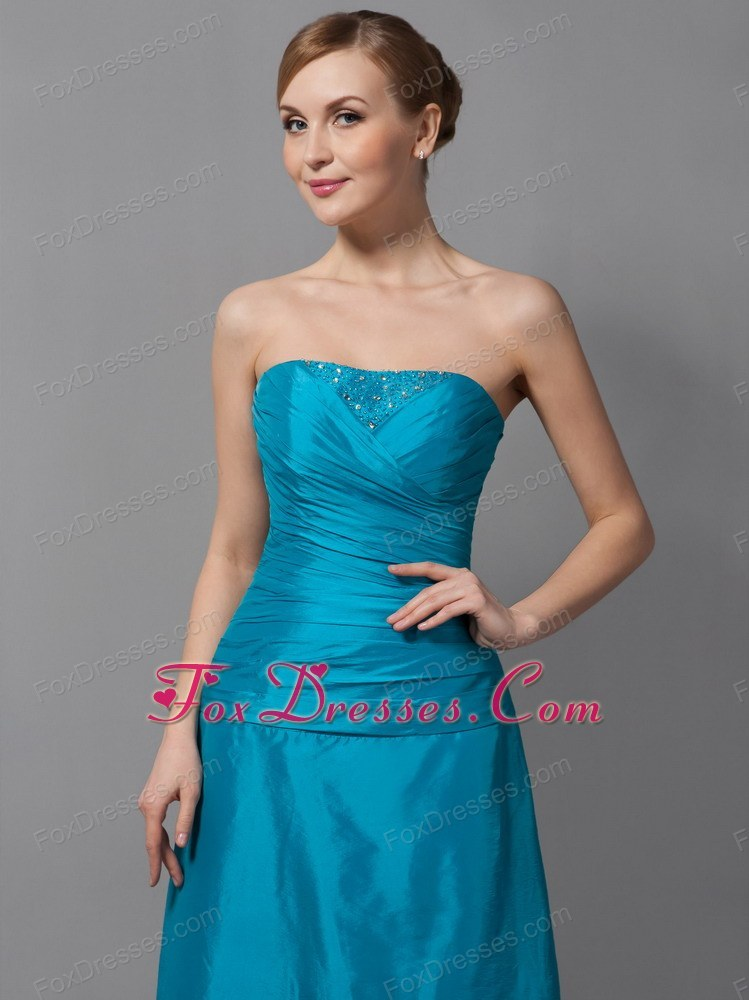 Taffeta Strapless Ruched Cheap Mother Of The Groom Dress