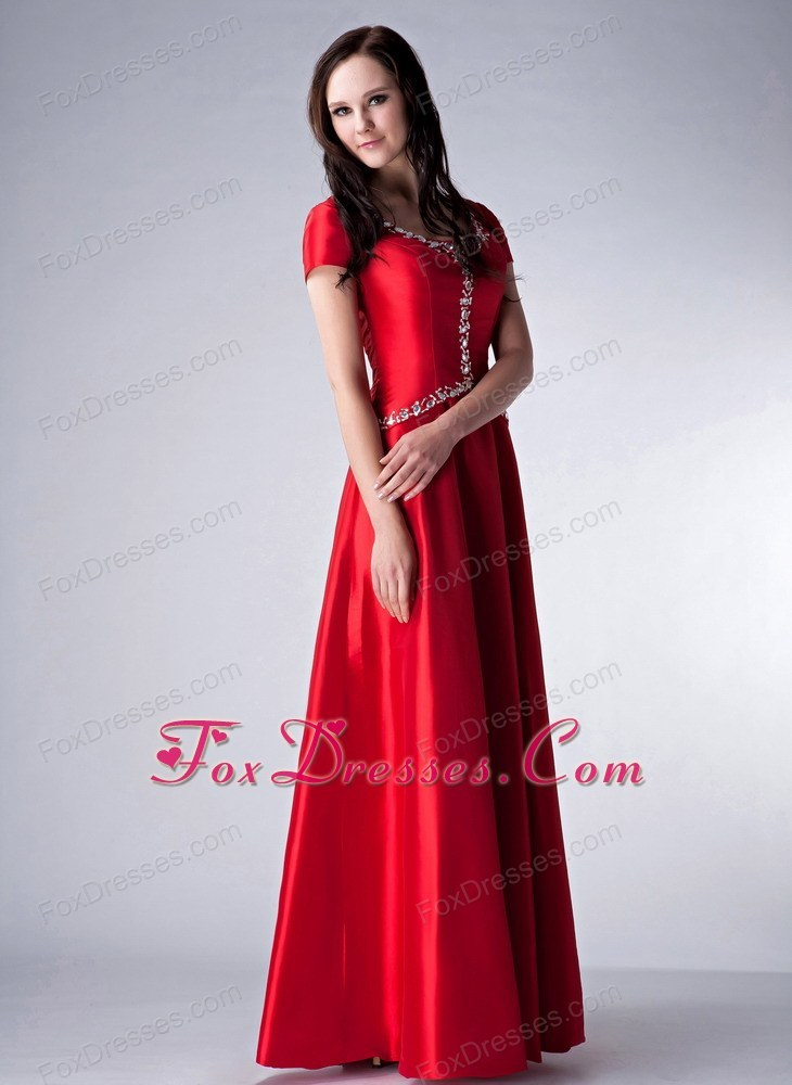Red Satin Scoop Floor Length Beading Mother Of The Bride Dresses