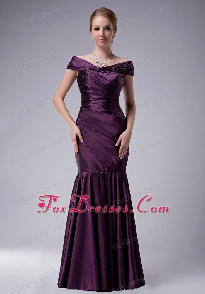 Dark Purple Mermaid Mother of Bride Dress Ruched off The Shoulder