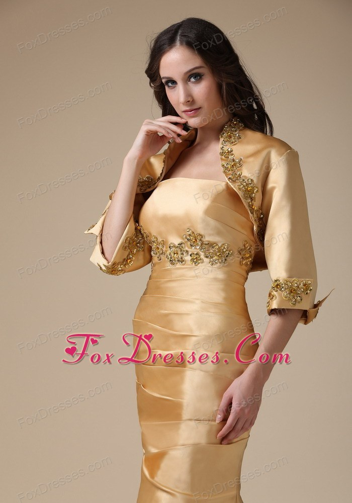 Gold Mermaid Ruching Mother Of The Bride Dress With Appliques