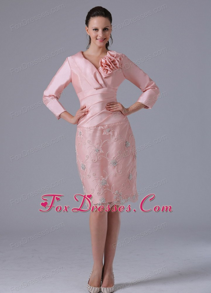 Modest Baby Pink Knee Length Mother of The Bride Dress
