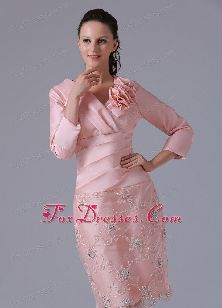 Pink Knee Length Mother of the Bride Dresses