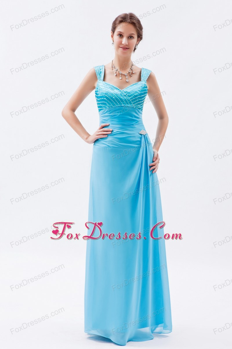 2013 Aqua Blue Floor Length Bridal Dress on Promotion