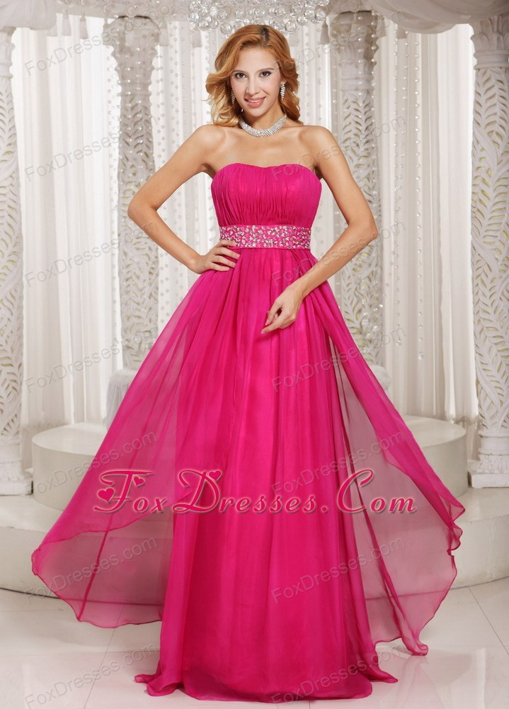 Pink Prom Dress Strapless Beading Ruch