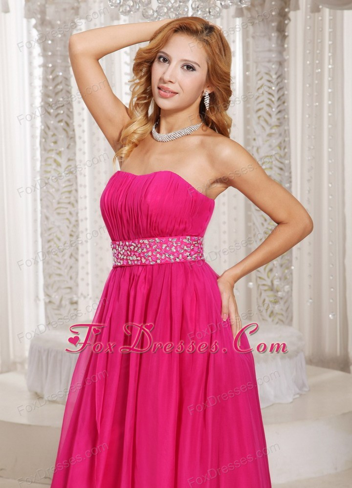Hot Pink Prom Dress Strapless Beading Ruch