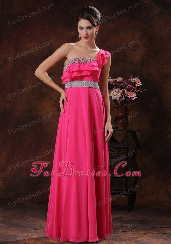 Layered One Shoulder Beading Hot Pink Prom Dress