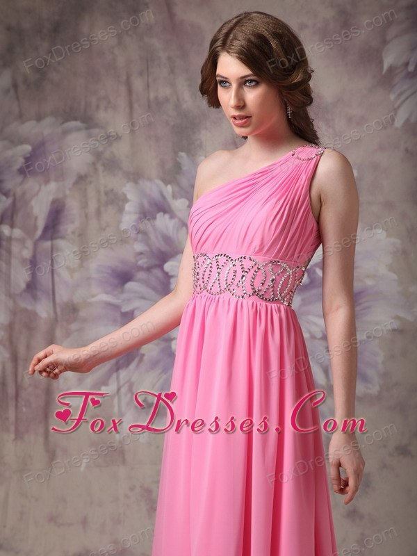 Rose Pink Ruch And Beading One Shoulder Chiffon Prom Dress