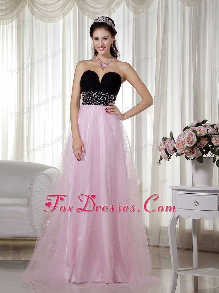 and Black Prom Dress A-line Sweetheart Tulle Beading