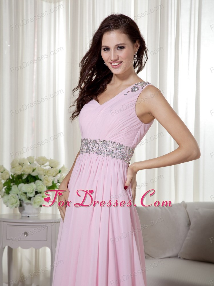 Baby Pink One Shoulder Chiffon Beading Ruch Prom Dress