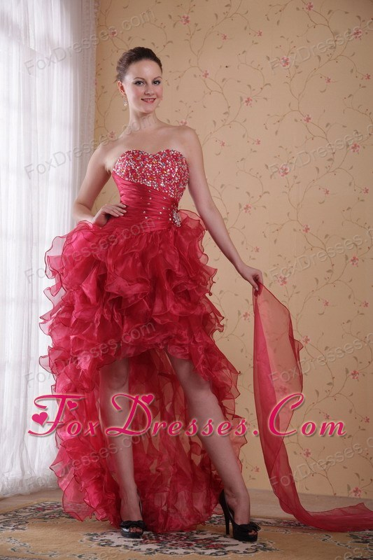 Column Sweetheart High-low Beading Prom Cocktail Dress